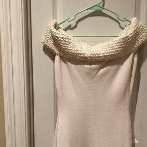 White Off the Shoulder Sequin Dress Size Medium